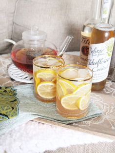 A hot or cold relaxing tea cocktail made with chamomile tea, Belvoir Elderflower Cordial, vodka, and lemon juice. #ad #worldmarkettribe // www.ElleTalk.com
