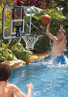 Challenge your friends to fun basketball games while beating the heat in the pool with th On Deck Basketball Set. Pool Basketball, Outdoor Basketball Court, Outdoor Games, Outdoor Fun, Outdoor Decor, Swimming Pool Games, Concrete Deck, In Ground Pools, Pool Designs