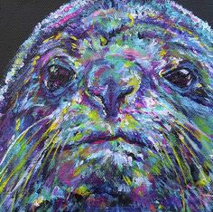 Artist: Karin McCombe Jones What you looking at? - acrylic on small canvas