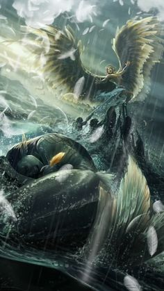 Illustrations Discover Feathers and Fins Dark Fantasy Art, Fantasy Artwork, Beautiful Fantasy Art, Fantasy Art Angels, Cool Pictures For Wallpaper, Spiritual Pictures, Fantasy Mermaids, Mermaids And Mermen, Avatar The Last Airbender Art