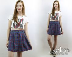 Vintage 90s Grunge Navy Plaid Schoolgirl Mini Skirt, fits size L ...
