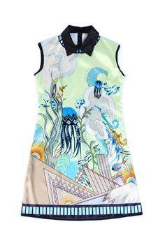 Lapel Neck Slim Light-colored Dress