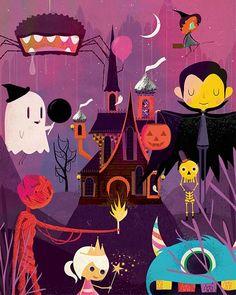 por Andrew Bannecker - Halloween. Ilustración, iconocero, artwork, monsters, personajes adorables, lovely monsters.