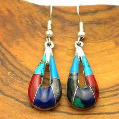 Alpaca Silver Turquoise and Stone Drop Earrings - Artisana