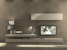 Sectional wall-mounted TV wall system I-modulArt - 277 - Presotto Industrie Mobili