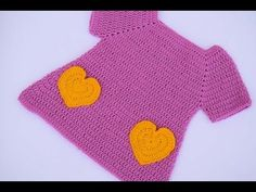 Fast And Easy Baby Dress With Hearts - Crochet Ideas Knitting Videos, Crochet Videos, Knitting Stitches, Crochet Bunny, Crochet For Kids, Crochet Hats, Crochet Summer Dresses, Crochet Baby Clothes, Baby Pants