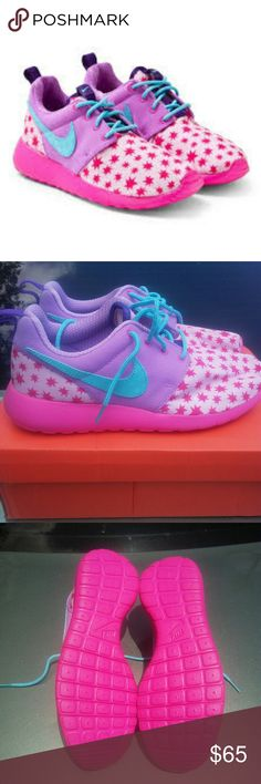 Nike Roshe Run Print GS 6.5y/8 women NWOT Its Carnival season; water games, Big stuffed teddy bears, bags of cotton candy, roller coasters, candy apples, kids running amok, you and your new beau making out watching the fire works. Your ex weeping, watching in disgust. Sneak kisses on the merry go round, and now its even double the fun as when striding in your Nike Roshe star print shoes.  New WITHOUT box (have extra Nike box if you want it) Excellent condition Never worn 100% authentic Nike…