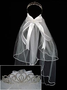 First Communion Tiara Veil with Bow - White HeidiCollection.com