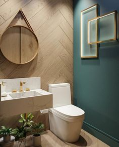 We shares powder room design and decorating ideas in every style, including vanities, sinks, mirrors, decor and more. 10 Gorgeous and Modern Powder Room Design Ideas Modern Powder Rooms, Small Powder Rooms, Modern Farmhouse Powder Room, Farmhouse Bathrooms, Powder Room Design, Powder Room Decor, Design Room, Powder Room Vanity, Modern Toilet