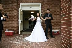 Fun out of the chapel, bride, groom