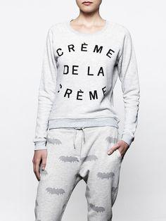 super cute and comfy! Zoe Karssen crème de la crème sweatshirt and bat sweat pant #zoekarssen.com (note: direct link from image is dead)