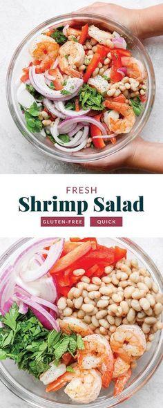 Shrimp Salad Recipes, Healthy Salad Recipes, Clean Recipes, Seafood Recipes, Healthy Meals, Fish Recipes, Crockpot Recipes, Healthy Food, Water