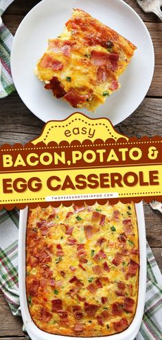 Bacon, Potato, and Egg Casserole is an easy breakfast casserole recipe packed with flavor and can be made ahead! It's a real crowd-pleaser. Pin this best casserole recipe! Potato Egg Casserole, Easy Breakfast Casserole Recipes, Bacon Potato, Delicious Breakfast Recipes, Best Casseroles, Potatoes, Tasty, Breakfast Ideas, Crowd