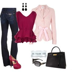 Magenta: Hermes Bag, Hudson jeans, Moschino blazer, Christian Louboutin shoes. I would wear this to go do some errands...totally chic and feminine!