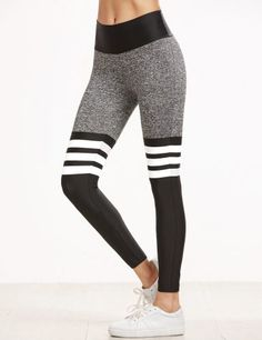 Color Block Striped Elastic Waist Sport Leggings