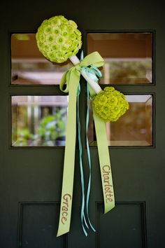 MADE IT.....Baby Rattle Door Decor.....*My o-PIN-ion*....Great for a baby shower or to welcome home a new baby. Made this for my daughter and it turned out BEAUTIFUL! Used artificial (silk) flowers and it was a bit pricey. But, it is a keepsake!! Fresh flowers would probably be cheaper!