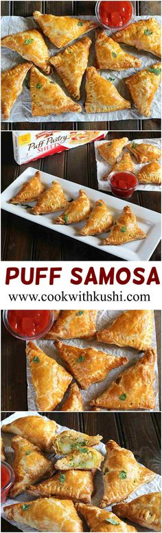 Puff Samosa is a easy to make delicious vegan appetizer with the crispy and gold. - Puff Samosa is a easy to make delicious vegan appetizer with the crispy and golden flaky texture on - Indian Appetizers, Vegan Appetizers, Appetizers For Party, Appetizer Recipes, Avacado Appetizers, Prociutto Appetizers, Halloween Appetizers, Cheese Appetizers, Party Snacks