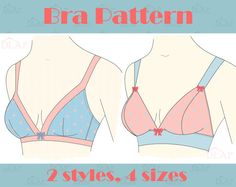 Bra PATTERN. Easy sew. Lounge comfort 2 styles, multisize. AA A B C. Instant download pdf sewing pattern.