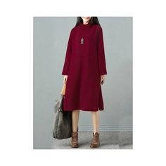 Elegant  Turtleneck Sweater Dresses (1.100 CZK) ❤ liked on Polyvore featuring dresses, wine red, red sweater dress, purple dress, red midi dress, long sleeve turtleneck and long-sleeve midi dresses