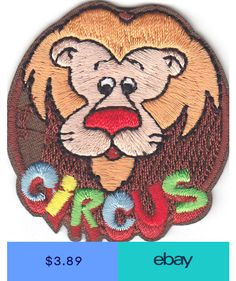 """/""""CIRCUS FUN/"""" Iron On Embroidered Patch Amusement Fun Games Clowns"""
