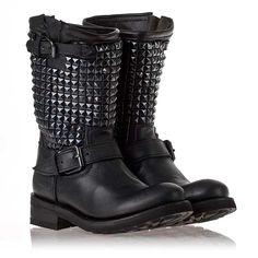 Ash Trash Biker Boot Black Leather/Black Studs  312294