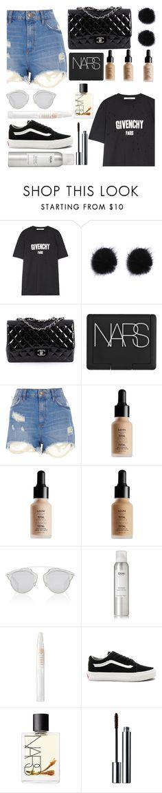 """""""Untitled #114"""" by georgialanexo ❤ liked on Polyvore featuring Givenchy, Chanel, NARS Cosmetics, River Island, NYX, Christian Dior, Ouai, MILK MAKEUP, Vans and Clinique"""