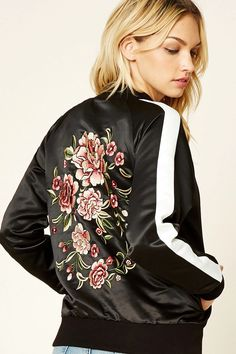 Forever 21 Contemporary - A satin jacket featuring a floral embroidery on the back, a zipper front, slanted front pockets, long sleeves with stripes, and a ribbed trim.