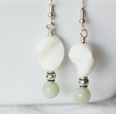 White Stone Earrings Beaded Stone Earrings White Dangle by ScoSiCa, $14.00