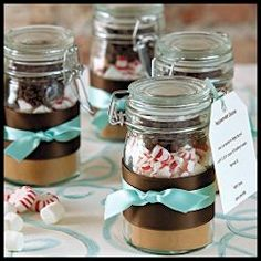 DIY Hot Chocolate Favors - Holiday weddings, hostess gifts, holiday parties, gifts from the kitchen. For teacher gifts