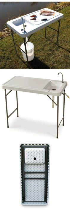 Fillet Tables and Cutting Boards 161823: Guide Gear Folding Fish Game Cleaning And Processing Table Station - Sink Faucet BUY IT NOW ONLY: $111.97