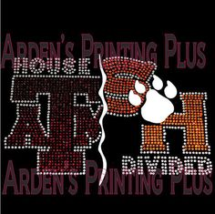 Texas A&M and Sam Houston State University Heart or House Divided  Rhinestone or Bling T-Shirt on Etsy, $35.00