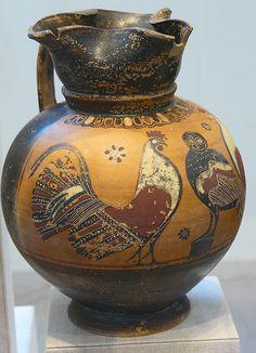 Gallo y búho. Pintor del loto y la cruz. Enocoe, corintio tardío, 570 a.n.e.
