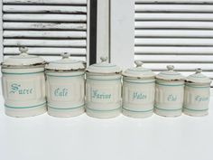 French Enamel Canisters Set Of 6/French by SouvenirsdeVoyages