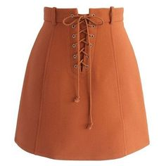 Chicwish Lace-up Era Bud Skirt in Orange ❤ liked on Polyvore featuring skirts, mini skirts, bottoms, brown mini skirt, lace up front skirt, chicwish skirt, lace up mini skirt and short skirts