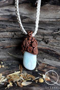 Amazonite Necklace Pendant Gemstone Clay by LaLunaHealingArt