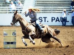 """Barrel racer Darcy LaPier from Newberg is a former actress and model, and ex-wife of Jean-Claude Van Damme. She now hosts a reality show, """"Rodeo Girls"""" on A&E, and competes at the St. Paul Rodeo."""