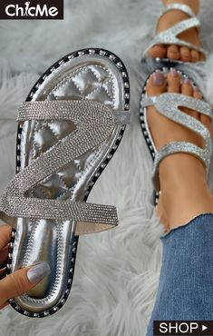 Diamante Cutout Open Toe Flat Sliders Toe Ring Sandals, Toe Rings, Heeled Sandals, Boho Fashion, Fashion Shoes, Open Toe Flats, Womens Fashion Online, Beautiful Outfits, Beautiful Clothes