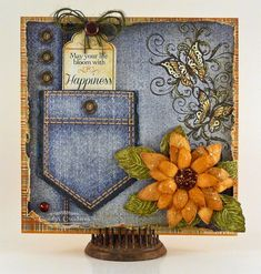 Heartfelt Creations Jeans Pocket Sunflower card by Candy Slabaugh