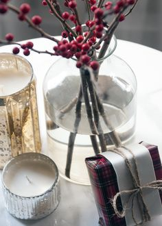 Love this. Would use our Peppermint, Pine and Cedarwood scented candles in this arrangement.