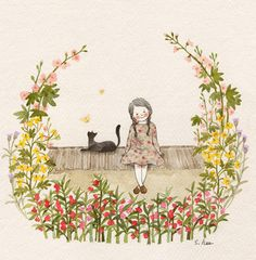 71 images about Cat and Me Illustration on We Heart It Art Aquarelle, Watercolor Art, Art And Illustration, Illustrations, Cat Drawing, Whimsical Art, Cat Art, Art Girl, Artsy