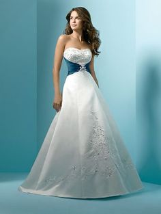 DESIGN FROM JAMI: White and Blue Wedding Dress - Strapless A line wedding gown by Alfred Angelo. [I like the ribbon belt with rhinestone brooch effect from the front. Not a fan of A-line or the fabric though]