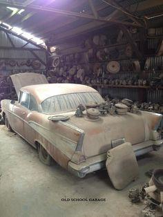 "oldschoolgarage: "" '57 Chevy barn find """