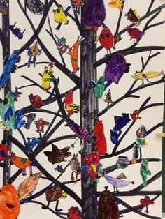 ART ON MY HANDS: Wacky Bird Mural - A study in Cooperative Art Making, this would be cool for a first art project. Design a bird that expresses who you are!