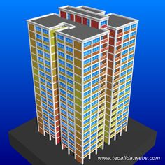Square Tower apartment block 3D model in AutoCAD Tower Apartment, Apartment Plans, Plans Architecture, Architecture Design, Plan Design, Prefab, Autocad, Filing Cabinet, House Plans