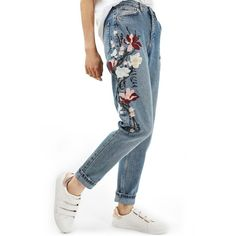 Women's Topshop Mom Embroidered Jeans ($110) ❤ liked on Polyvore featuring jeans, blue multi, tapered jeans, high waisted jeans, blue jeans, high-waisted jeans and white high-waisted jeans