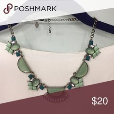 Lia Sophia geometric necklace Lia Sophia geometric statement necklace. Antique silver with green stones. Gorgeous necklace! Only worn once. Clasp works perfectly Lia Sophia Jewelry Necklaces