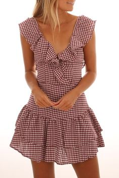 Outside The Lines Playsuit Maroon Gingham