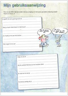"""Op Pinterest vond ik het werkblad """"mijn gebruiksaanwijzing"""". Afkomstig uit de methode Leefstijl. Met behulp van deze """"gebruiksaanwijzing"""" kunnen de kinderen elkaar goed leren kennen. En leren ze rekening houden met elkaars gevoelens. Dit zou kunnen bijdrage aan een beter pedagogisch klimaat. De vraag op het werkbladis: hoe zou jij willen dat een ander met …"""