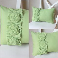 -Pastel green DIY felt flower pillow on chair - home decor, handmade felt pillow Felt Flower Pillow, Felt Pillow, Pillow Room, Sewing Pillows, Diy Pillows, Handmade Pillows, Decorative Pillows, Cushion Embroidery, Diy Embroidery