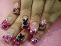Playgirl bunny, pink sparkles and silver sparkles